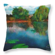 Lily Pond A La Torrie Throw Pillow