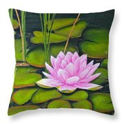 Lily Pond And Pink Throw Pillow
