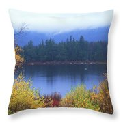 Lily Pond Autumn Kancamagus Highway Throw Pillow