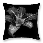 Lily Raindrops In Giverny, France, Black And White Throw Pillow