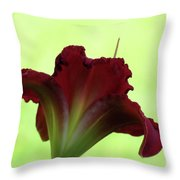 Lily Red On Green Throw Pillow
