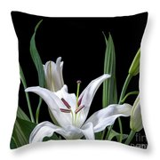 A White Oriental Lily Surrounded Throw Pillow