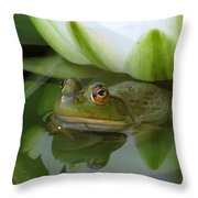 Lilyfrog - Frog With Water Lily Throw Pillow