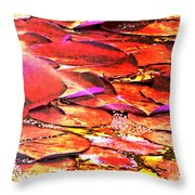 Crimson Lilypads Floating.. Throw Pillow