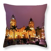 Lima Cathedral And Plaza De Armas At Night Throw Pillow