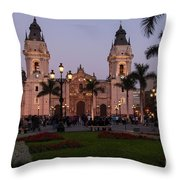 Lima Cathedral At Night Throw Pillow