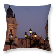 Lima Cathedral Twin Towers One Throw Pillow