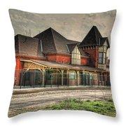 Lima Ohio Train Station Throw Pillow by Pamela Baker