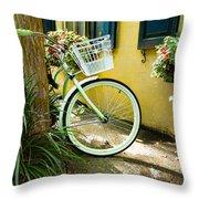 Lime Green Bike Throw Pillow