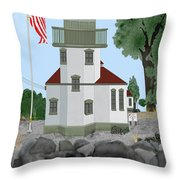 Lime Kiln Light On San Juan Island Throw Pillow