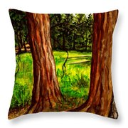 Lime Meadow Throw Pillow