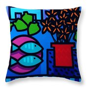 Limes Fish Flowers Throw Pillow