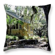Limestone Home In The Trees Throw Pillow