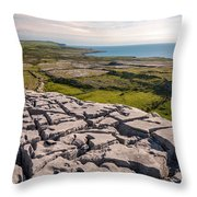 Limestone Landscape Of The Burren Ireland Throw Pillow