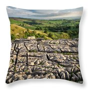 Limestone Pavement At Malham Cove At Sunset Throw Pillow