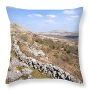 Limestone Pavements And Dry-stone Walls, Fahee North, Burren, County Clare, Ireland Throw Pillow