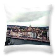 Limmatquai In Zurich Switzerland Throw Pillow