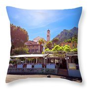 Limone Sul Garda Square And Church View Throw Pillow