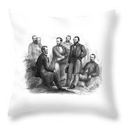 Lincoln And His Generals Black And White Throw Pillow
