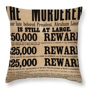 Lincoln Assassination Reward Poster Throw Pillow