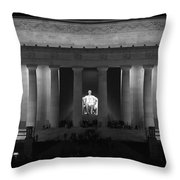 Lincoln At Night Bw Throw Pillow