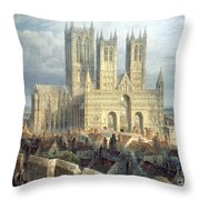 Lincoln Cathedral From The North West Throw Pillow by Frederick Mackenzie