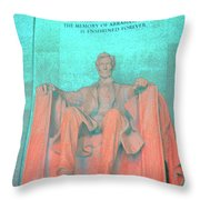 Lincoln In Blue Throw Pillow