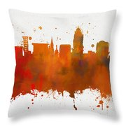 Lincoln Nebraska Colorful Skyline Throw Pillow