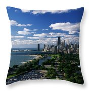 Lincoln Park And Diversey Harbor Throw Pillow
