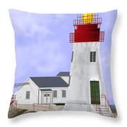 Lindesnes Norway Lighthouse Throw Pillow