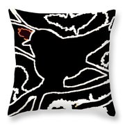 Line Art Of A Little Bird Sketch Throw Pillow