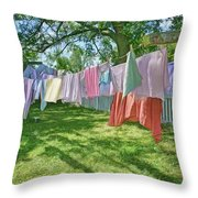Line Dry - Laundry Throw Pillow