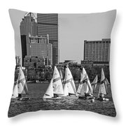 Line Of Boats On The Charles River Boston Ma Black And White Throw Pillow