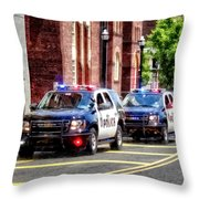 Line Of Police Cars Throw Pillow