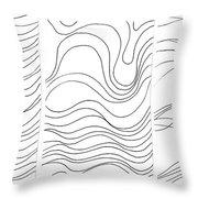 Lines 1-2-3 Black On White Throw Pillow