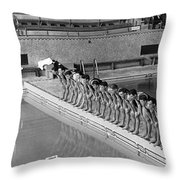 Lineup Of Ncaa Men Swimmers Throw Pillow
