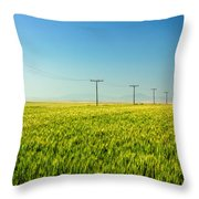 Lining A Sea Of Green Throw Pillow