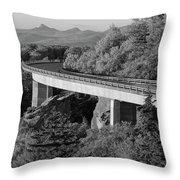 Linn Cove Viaduct Black And White Throw Pillow