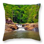 Linville Falls Nc Throw Pillow