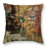 Lion And Lamb Collage Throw Pillow