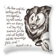 Lion And Yearling Throw Pillow