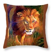 Lion At Sunset Throw Pillow