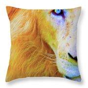 Lion Blue By Nicholas Nixo Efthimiou Throw Pillow