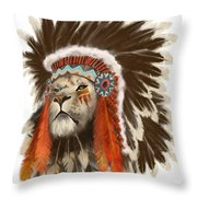 Lion Chief Throw Pillow