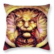 Lion Door Knocker In Dusseldorf, Germany Throw Pillow
