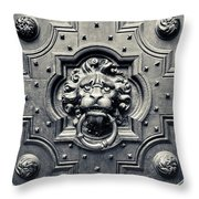 Lion Head Door Knocker Throw Pillow by Adam Romanowicz