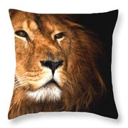 Lion Head Oil Painting Throw Pillow
