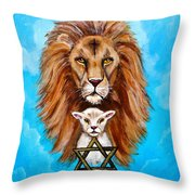 Lion Lies Down With A Lamb Throw Pillow