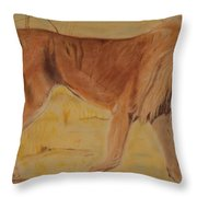 Lion On The Plain Throw Pillow