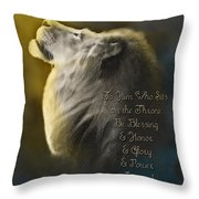 Lion On The Throne In Aqua Throw Pillow by Constance Woods
